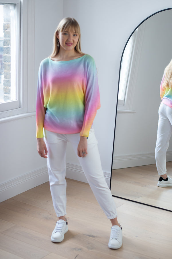 Rainbow Ombre Thin Knit Top in Blue/Pink/Yellow Palette