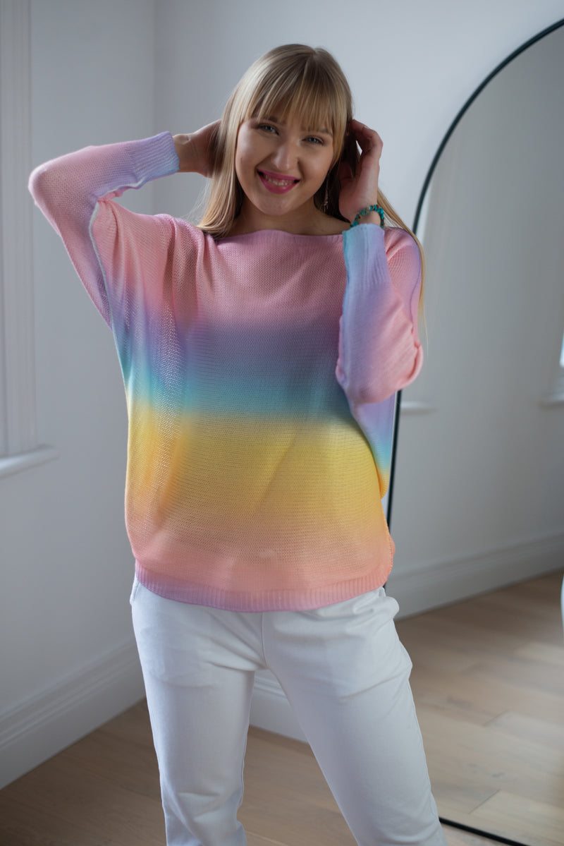 Rainbow Ombre Thin Knit Top in Light Pink Palette