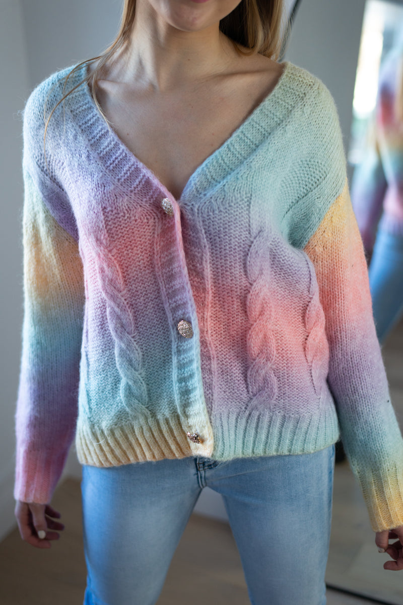 Ombre Cable Knit Cardigan in Multi