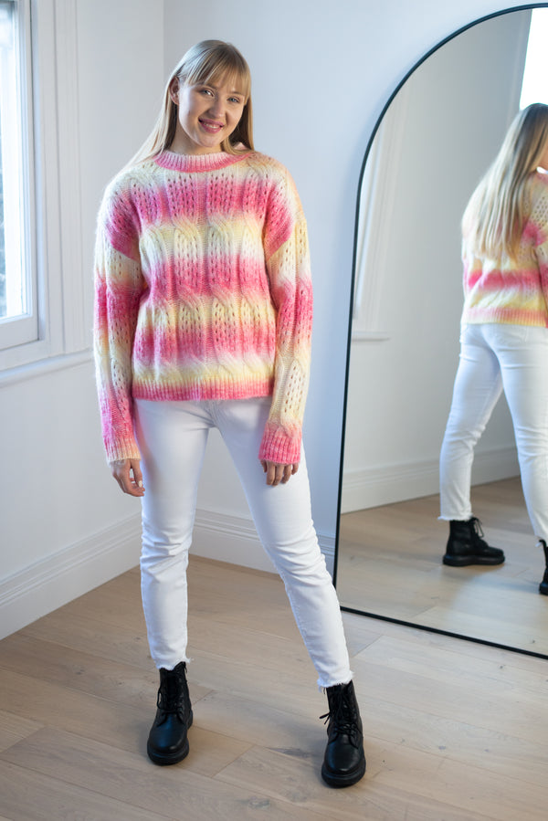 Ombre Cable Knit Jumper in Pink/Yellow