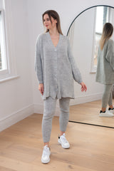 Cardigan Knitted Lounge Set In Grey
