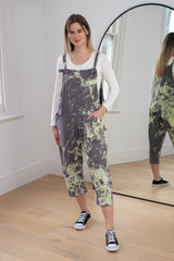 Paint Splash Dungarees in Light Grey
