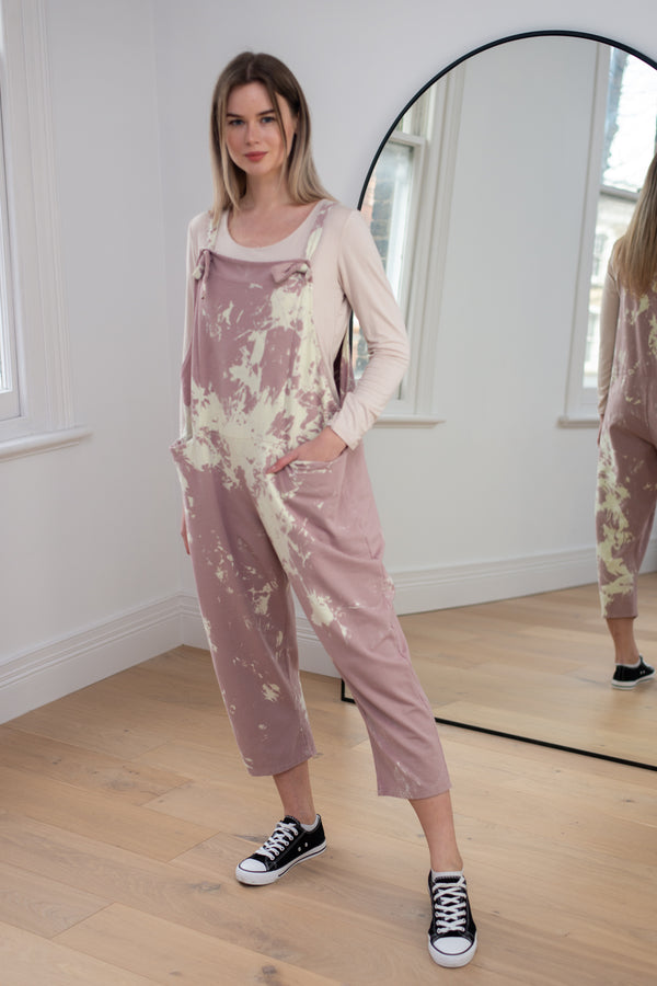 Paint Splash Dungarees in Blossom Pink