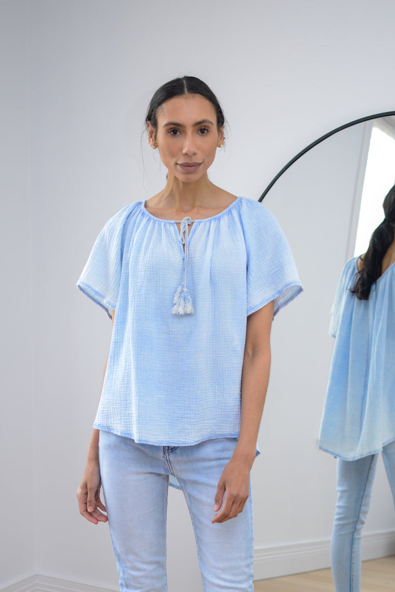 Bardot Cheesecloth Top In Light Blue