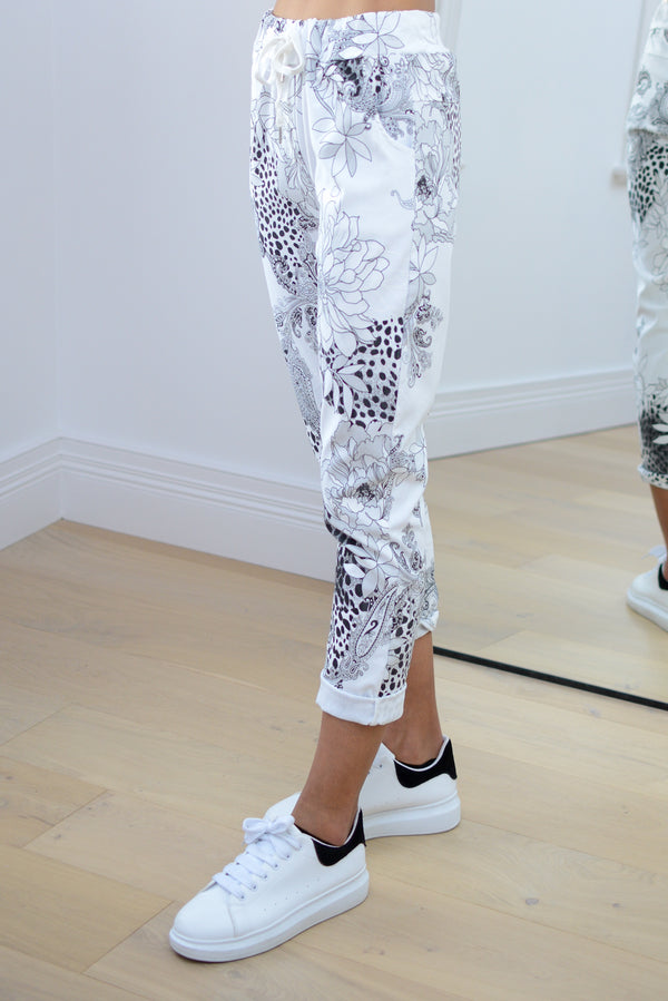 Floral Stretch Joggers in White