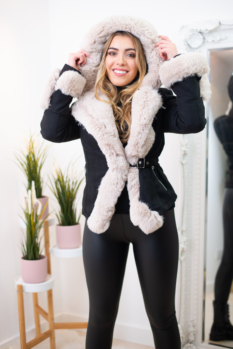 Luna Faux Fur Trim Hooded Jacket