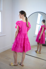 Anglaise Short Tiered Dress in Fuchsia