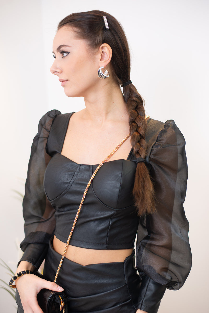 Electra Puff Sleeve Faux Leather Top