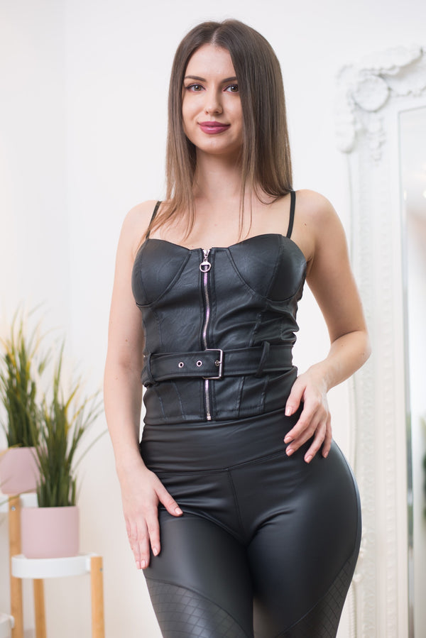 Vega Faux Leather Belted Bustier Top