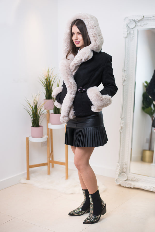 Cate Faux Leather Pleated Mini Skirt