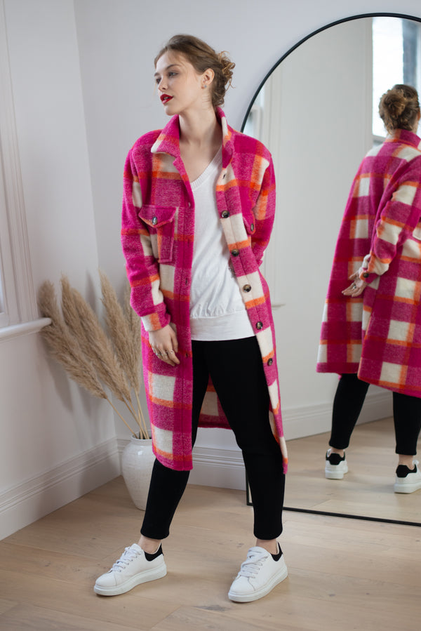Longline Check Shacket in Fuchsia