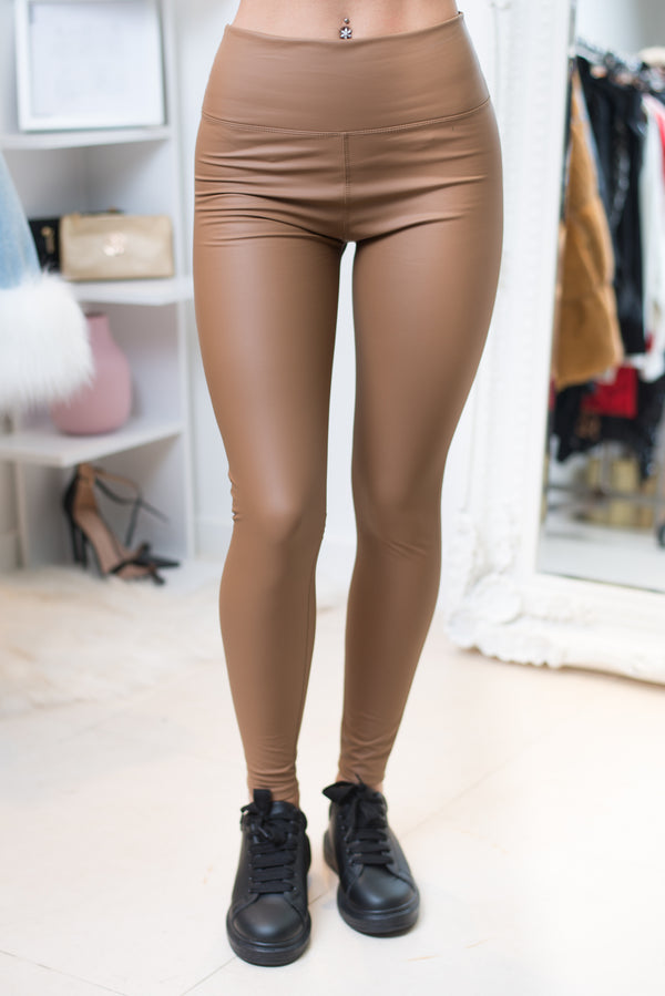 Candi Faux Leather Leggings in Tan