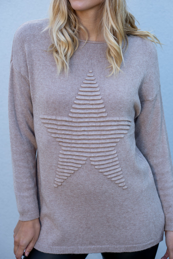 Star Embossed Jumper in Beige