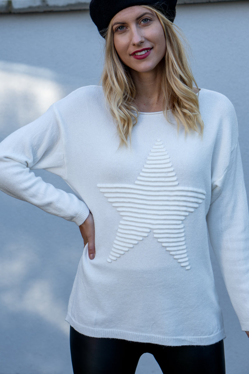 Star Embossed Jumper in Cream