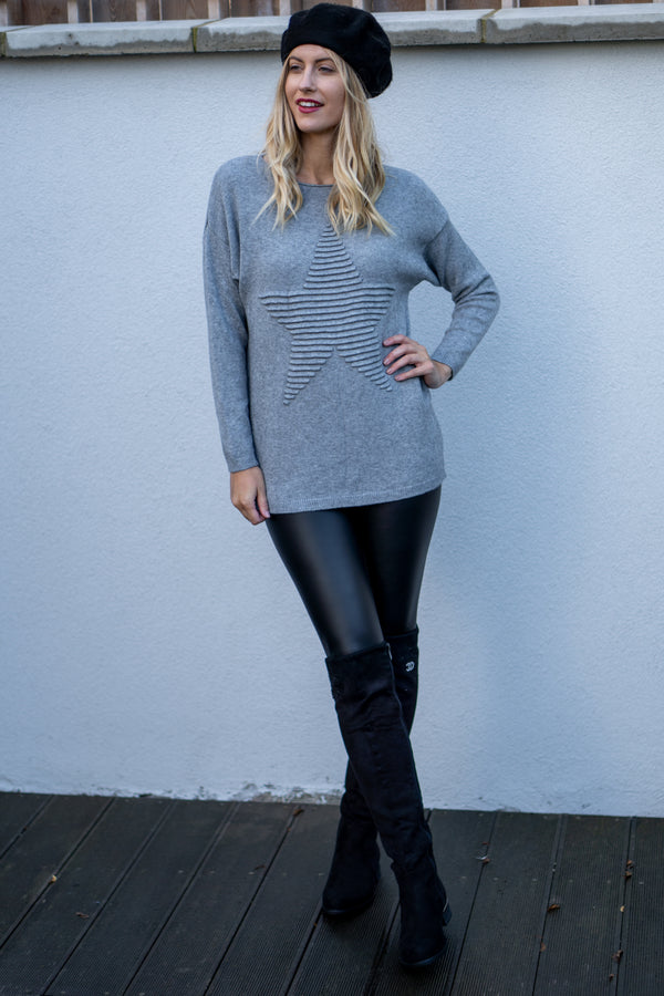 Star Embossed Jumper in Grey