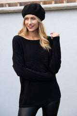 Star Embossed Jumper in Black