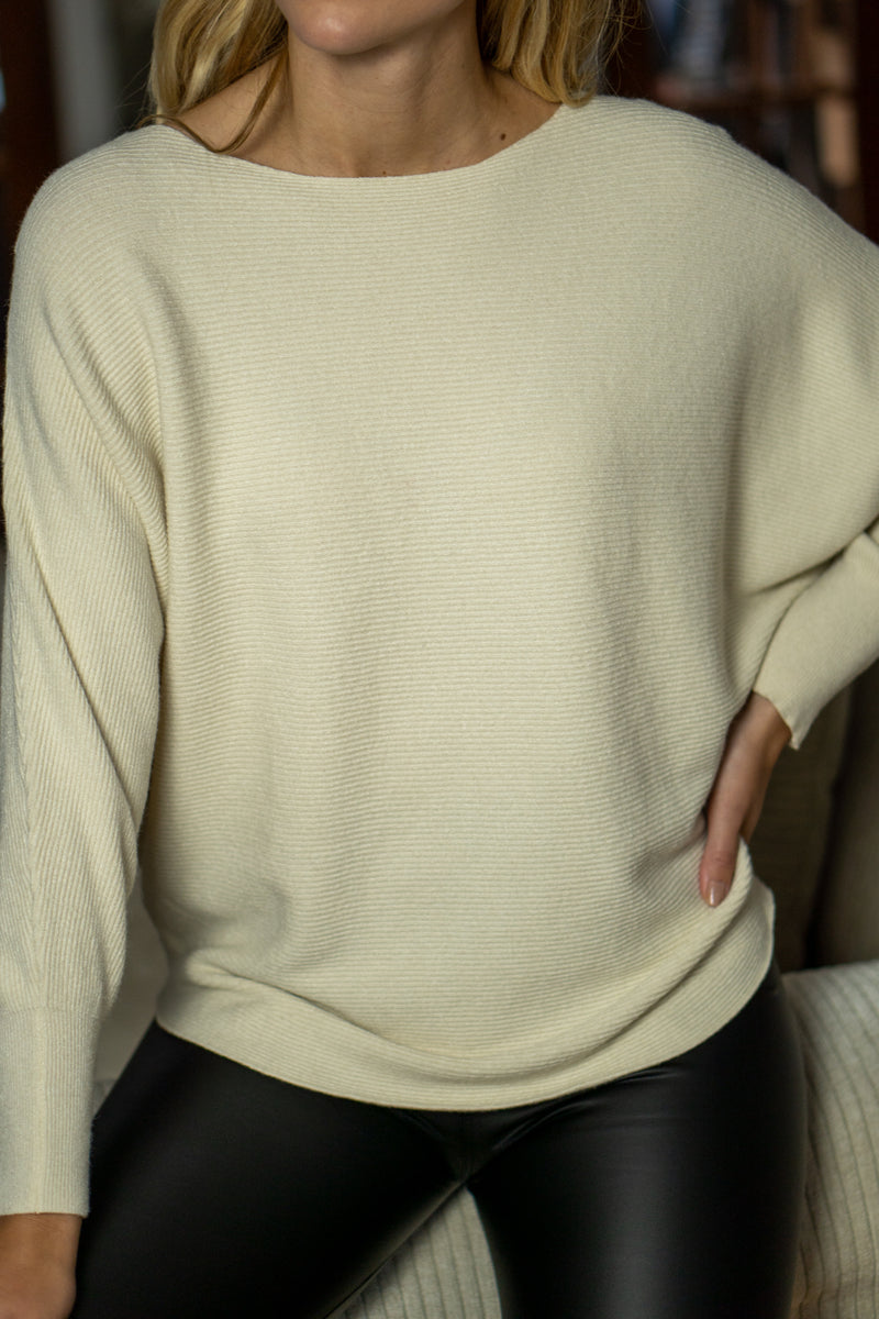 Boatneck Ribbed Knit Jumper in Cream