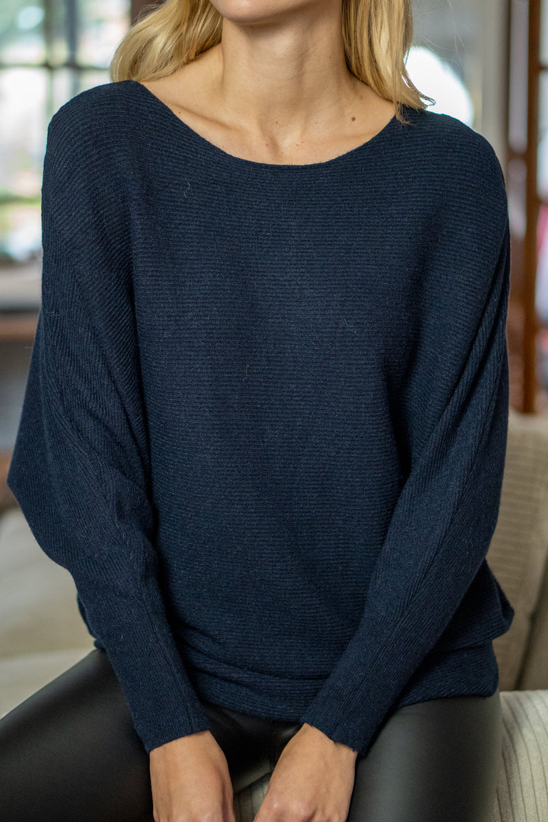 Boatneck Ribbed Knit Jumper in Navy