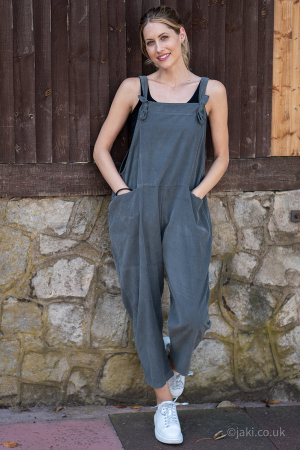 Corduroy Knot Tie Dungarees in Grey