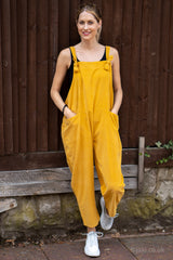 Corduroy Knot Tie Dungarees in Mustard