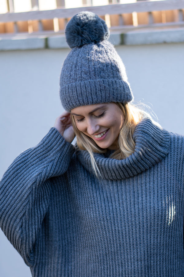 Cable Knit Faux Fur Bobble Hat In Grey