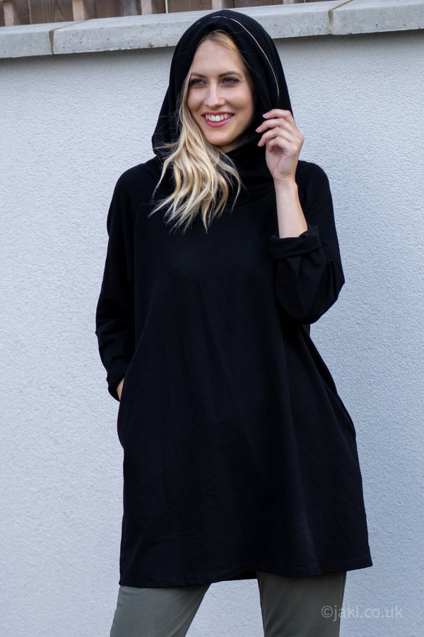 Oversized Hooded Top with Zip Detail