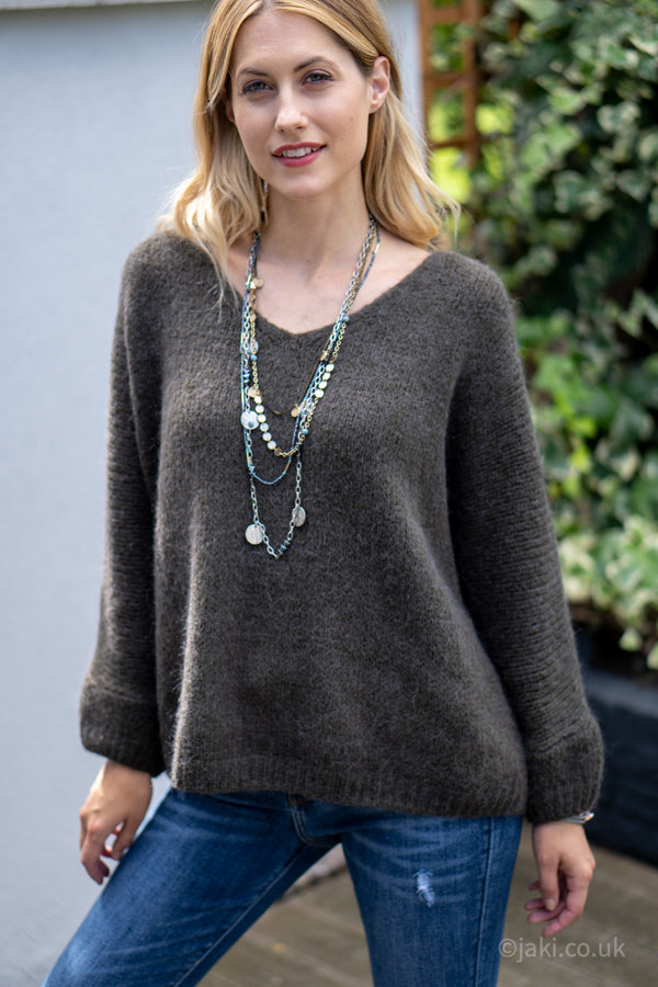 V-Neck Knitted Sweater in Dark Grey