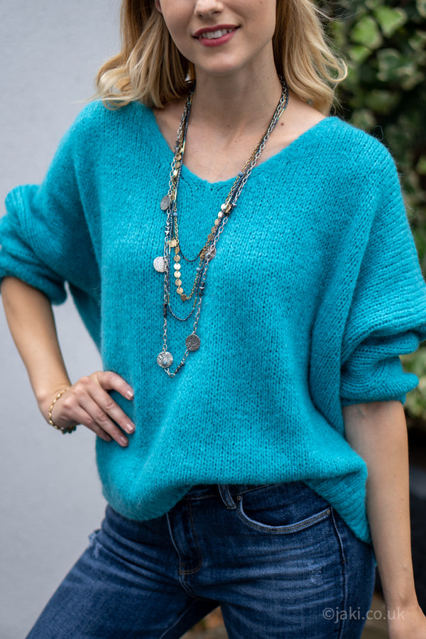 V-Neck Knitted Sweater in Teal