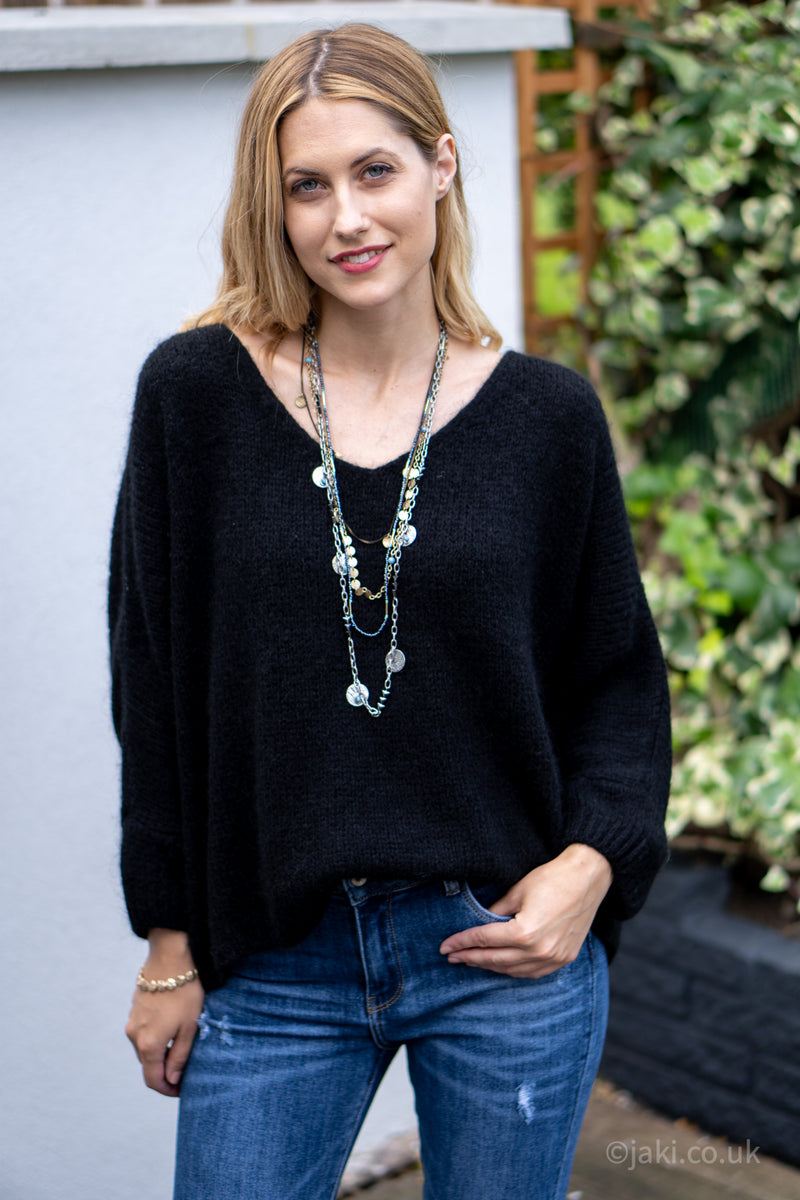 V-Neck Knitted Sweater in Black