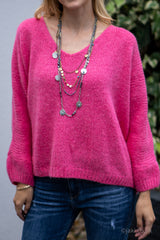 V-Neck Knitted Sweater in Fuchsia