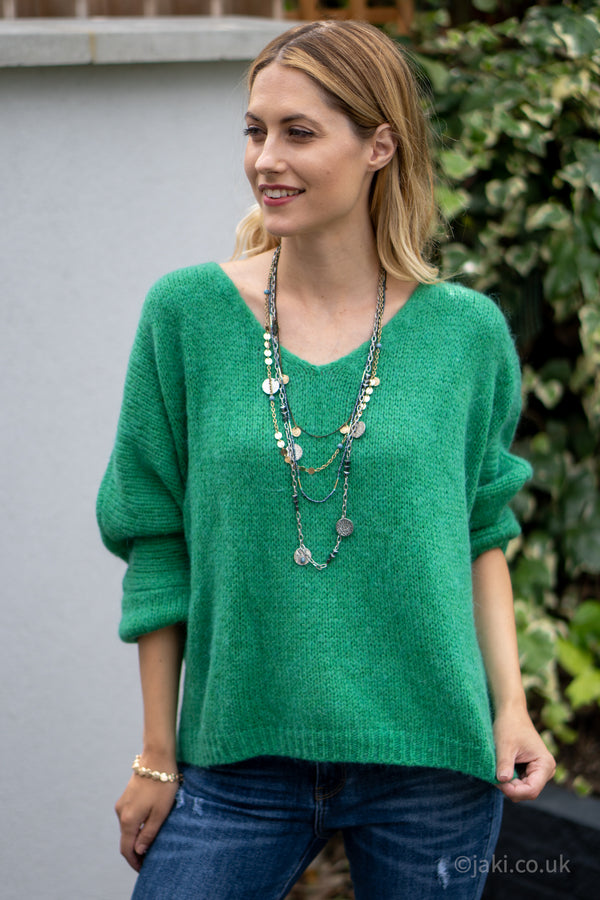 V-Neck Knitted Sweater in Green