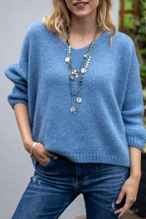 V-Neck Knitted Sweater in Blue