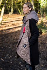 Asymmetric Hooded Puffer Jacket In Taupe