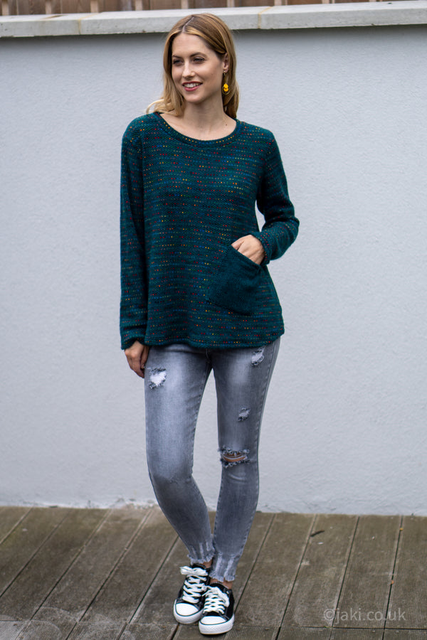 Flecked Pocket Jumper in Teal