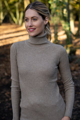 Fitted Ribbed Roll Neck Jumper In Taupe