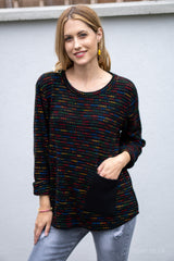 Flecked Pocket Jumper in Black