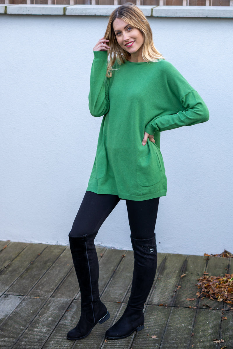 Oversized Pearl Button Jumper In Green
