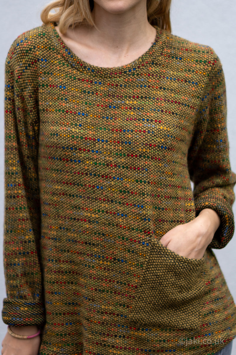 Flecked Pocket Jumper in Mustard