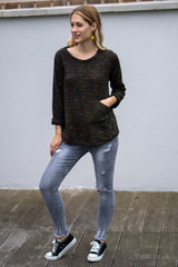 Flecked Pocket Jumper in Khaki