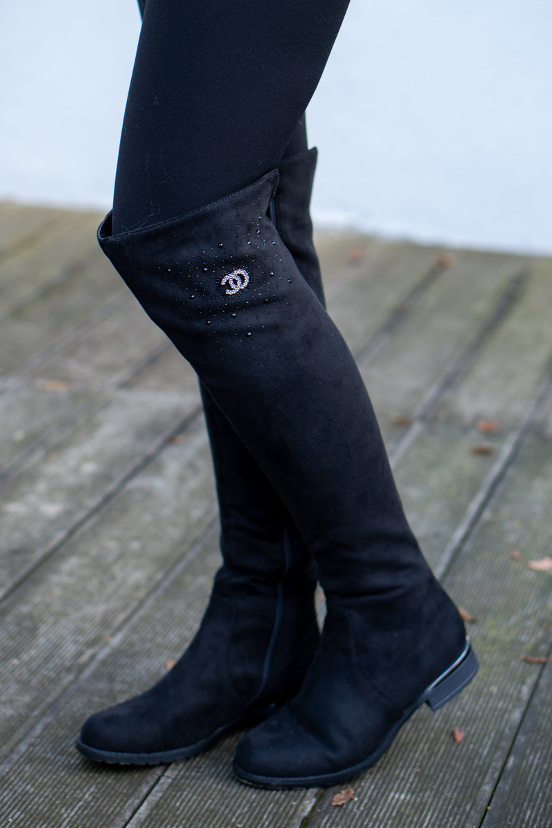 Faux Suede Knee High Boots