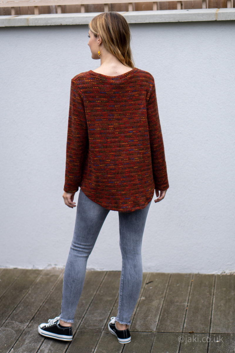 Flecked Pocket Jumper in Rust