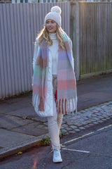 Multi Check Oversized Scarf - Pastel Palette