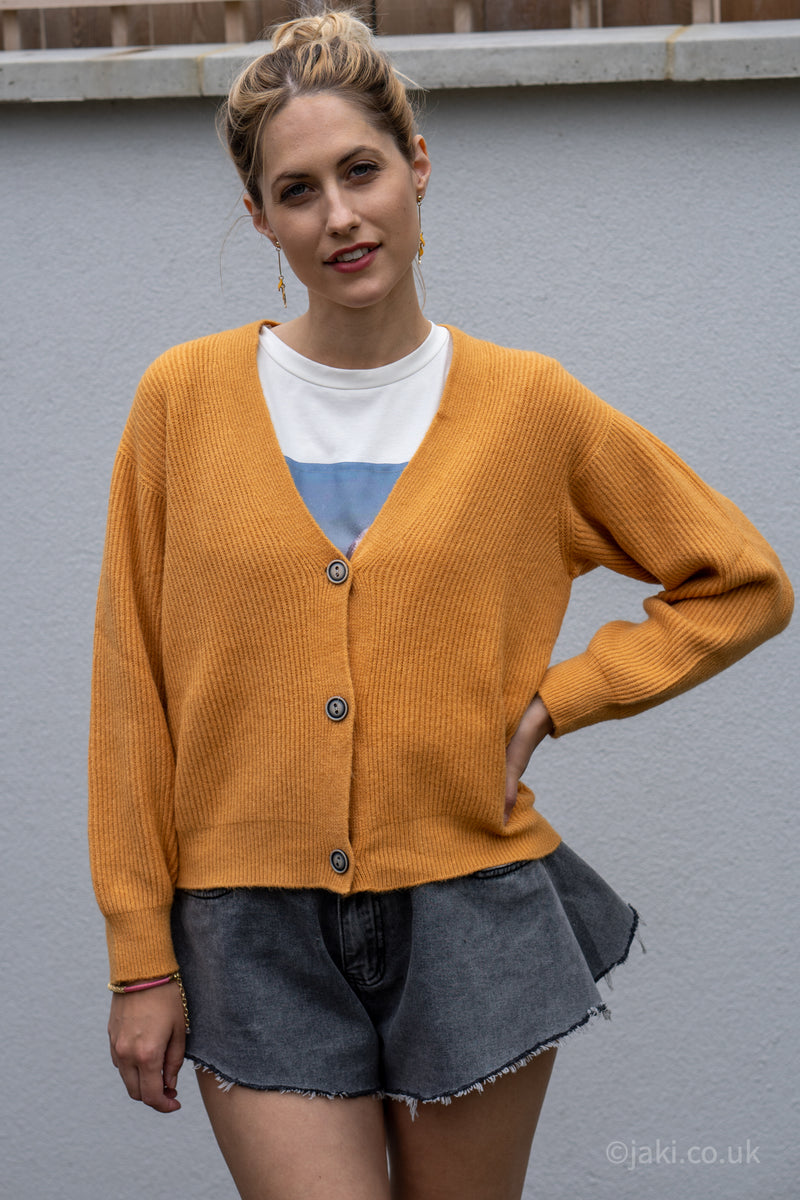 Ribbed Knit Cardigan in Mustard