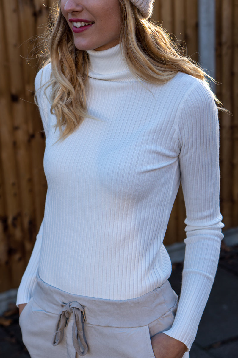 Fitted Ribbed Roll Neck Jumper In Off White