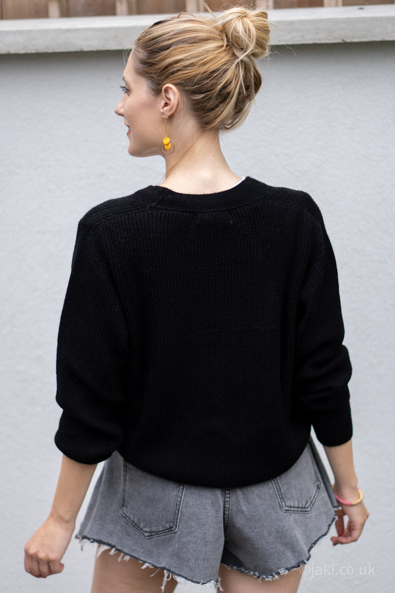Ribbed Knit Cardigan in Black