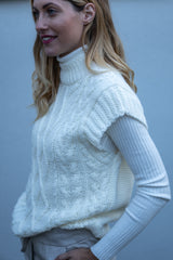 Cable Knit High Neck Vest In Cream