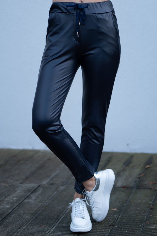 Faux Leather Joggers In Navy