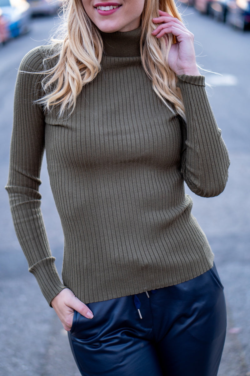 Fitted Ribbed Roll Neck Jumper In Khaki