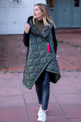 Asymmetric Hooded Puffer Jacket In Forest Green