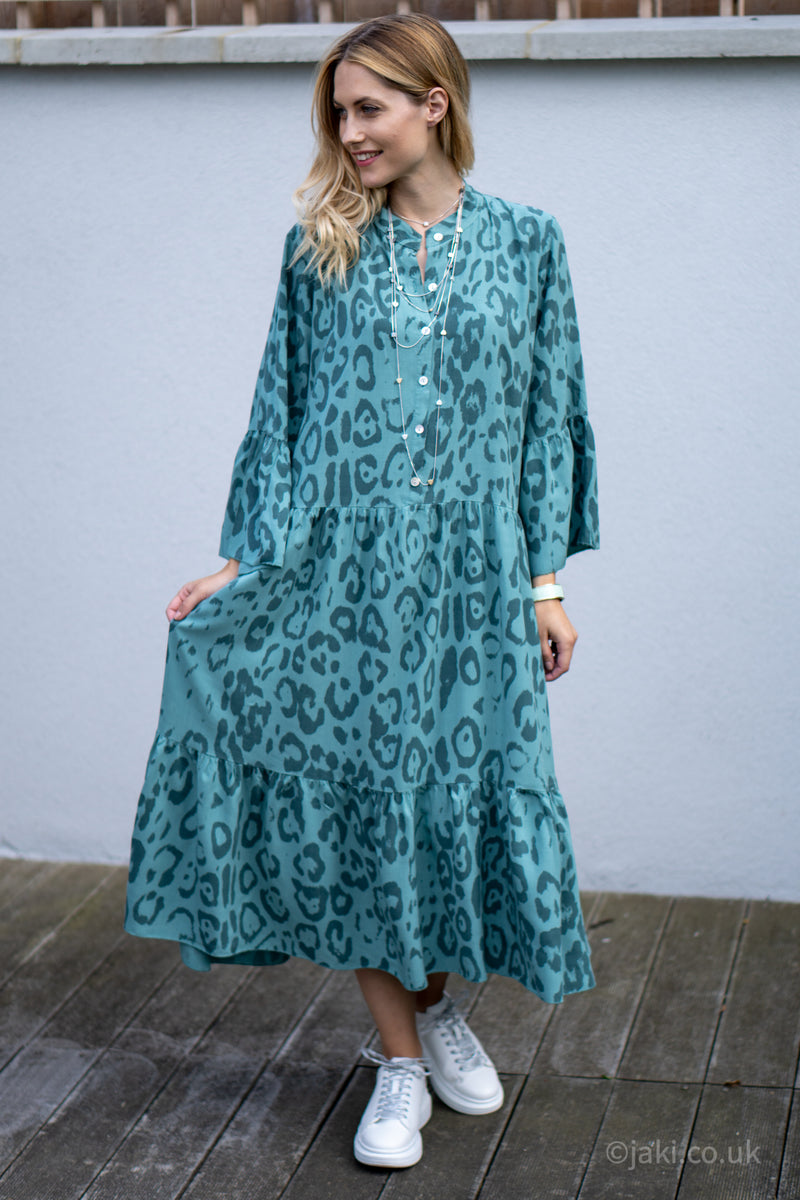 Elsie Button Up Tiered Midi Dress in Turquoise